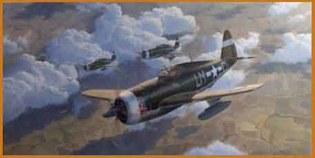 P-47 Thunderbolt aviation art painting