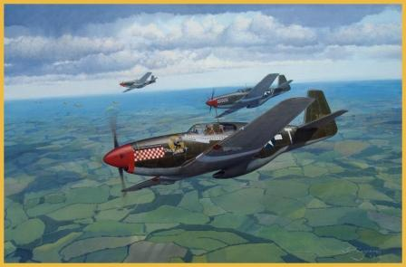 P-51B Mustang aviation art