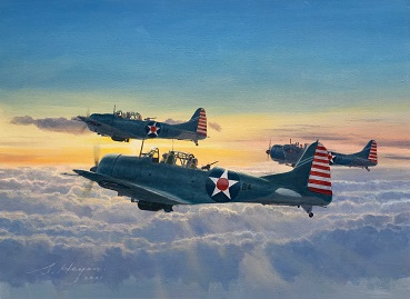 Airplane art Douglas Dauntless painting